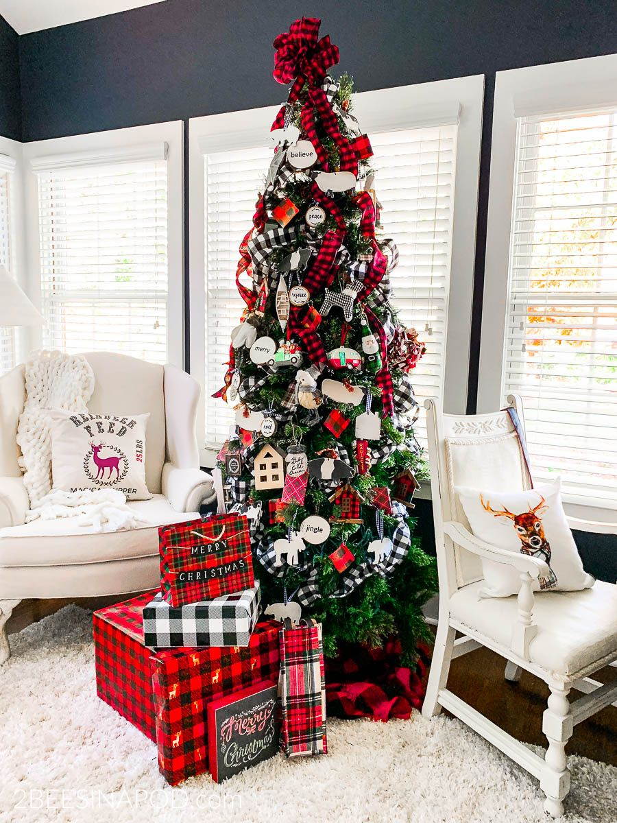Take a Tour of My Cozy Plaid Christmas Family Room #christmasdecor #christmasfamilyroom #christmasplaid #buffalocheck #cozychristmas #traditionalchristmas #2beesinapod