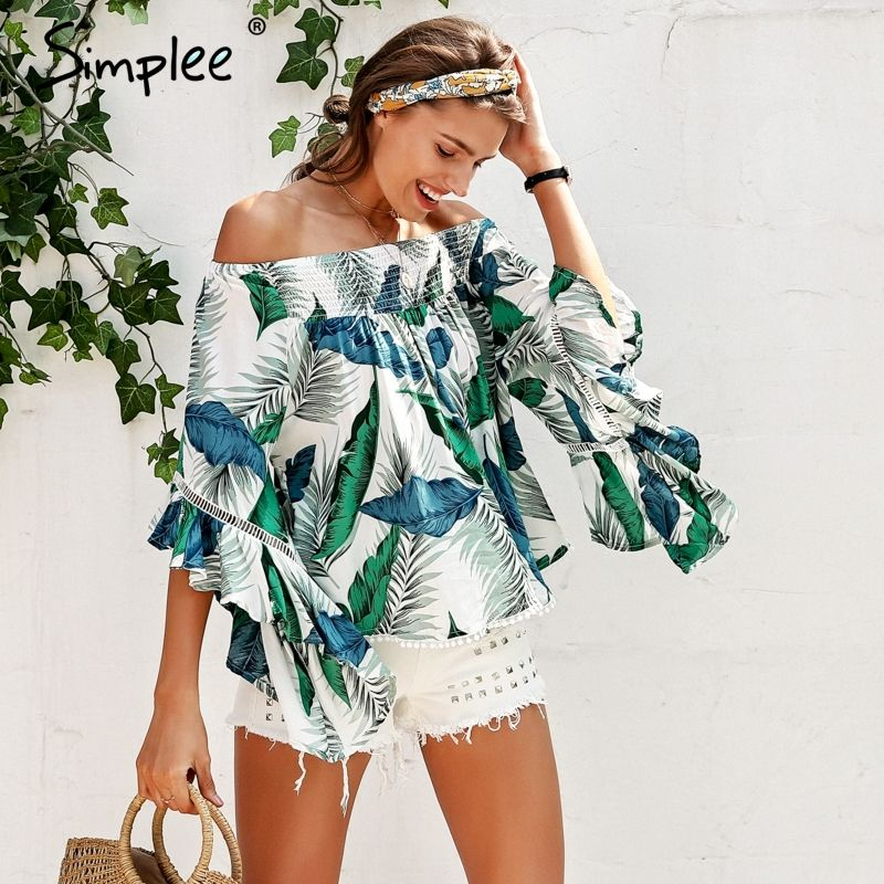 93fdc804dac Simplee Off shoulder tropical print sexy blouse women Flare sleeve ruffle  casual blouse shirt 2018 Smock top summer beach tunic  offshoulderblouse ...