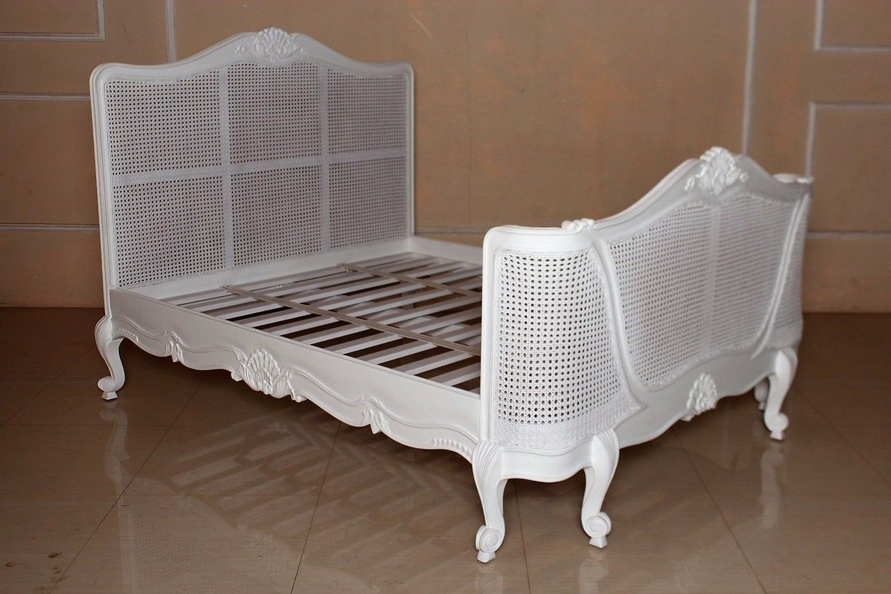 French Chateau Rattan Bed, White Rattan bed frame