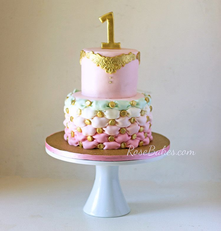 pink-green-gold-tufted-cake