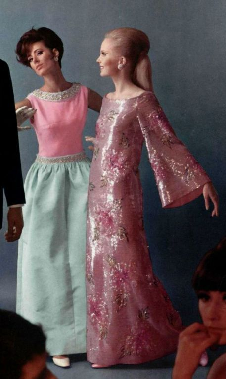 1966 - Balmain and Dior evening dresses formal gowns pink metallic ...
