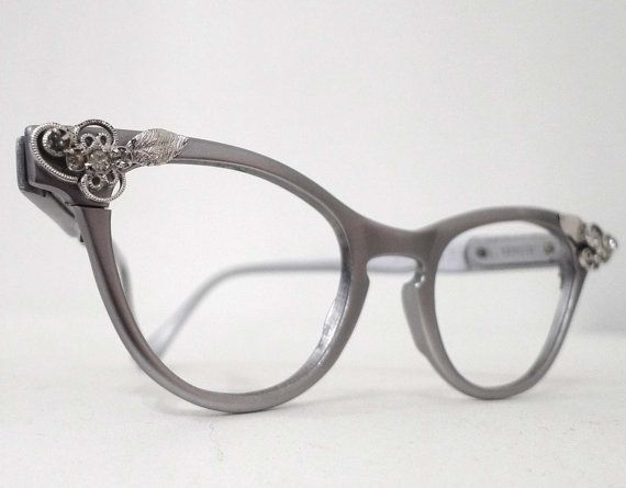 REserved Cool Matte Aluminum  Cat Eye Eyeglass Frames, 1950s 1960s, Rhinestones. Slightly Larger Cat Eye Frame