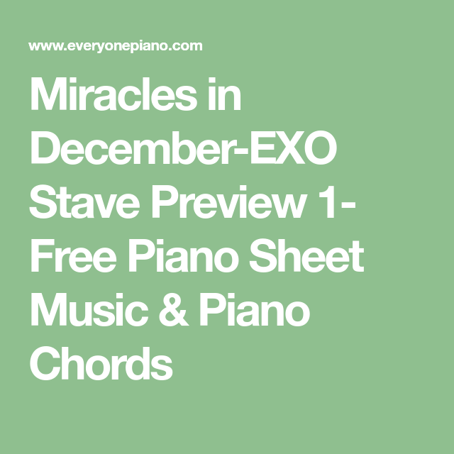Miracles In December Exo Stave Preview 1 Free Piano Sheet Music