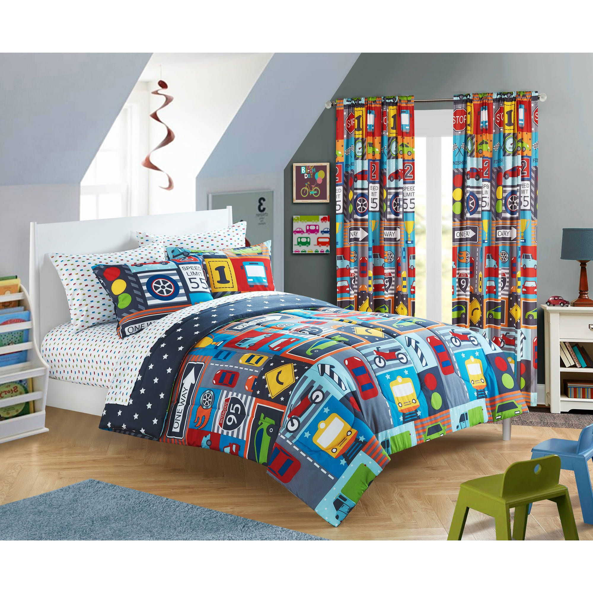 Mainstays Kids Busy Car Transportation Bed In A Bag Bedding Set Price Schlafzimmer Design Schlafzimmer Zimmer