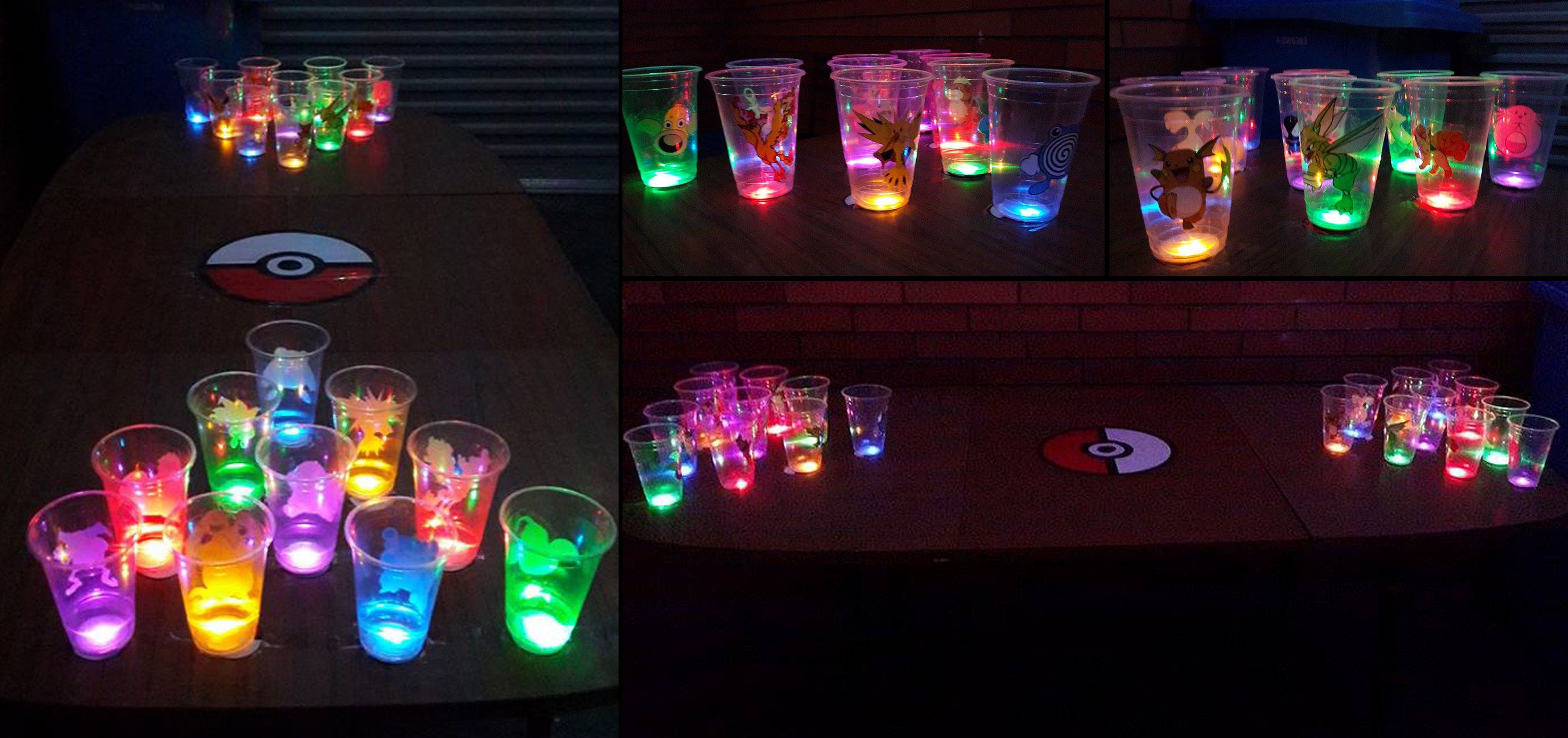 Pokemon Glow Beer Pong! Using LED bottle stickers http ... on glow sticks in water, glow sticks cool, glow stick party decoration ideas, glow stick outdoor ideas, led lighting ideas, glow sticks in balloons, glow stick costume ideas, fun with glow sticks ideas, glow stick craft ideas, glow stick game ideas, glow sticks in the dark, 10 awesome glow stick ideas, glow stick decorating ideas, glow stick centerpiece ideas, glow in the dark ideas,