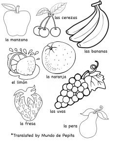 multilingual printables fruits and vegetables in 7 languages teaching kids spanish. Black Bedroom Furniture Sets. Home Design Ideas