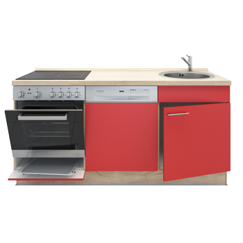 Miniküche + Geschirrspüler in Chili Rot & Sonoma Eiche