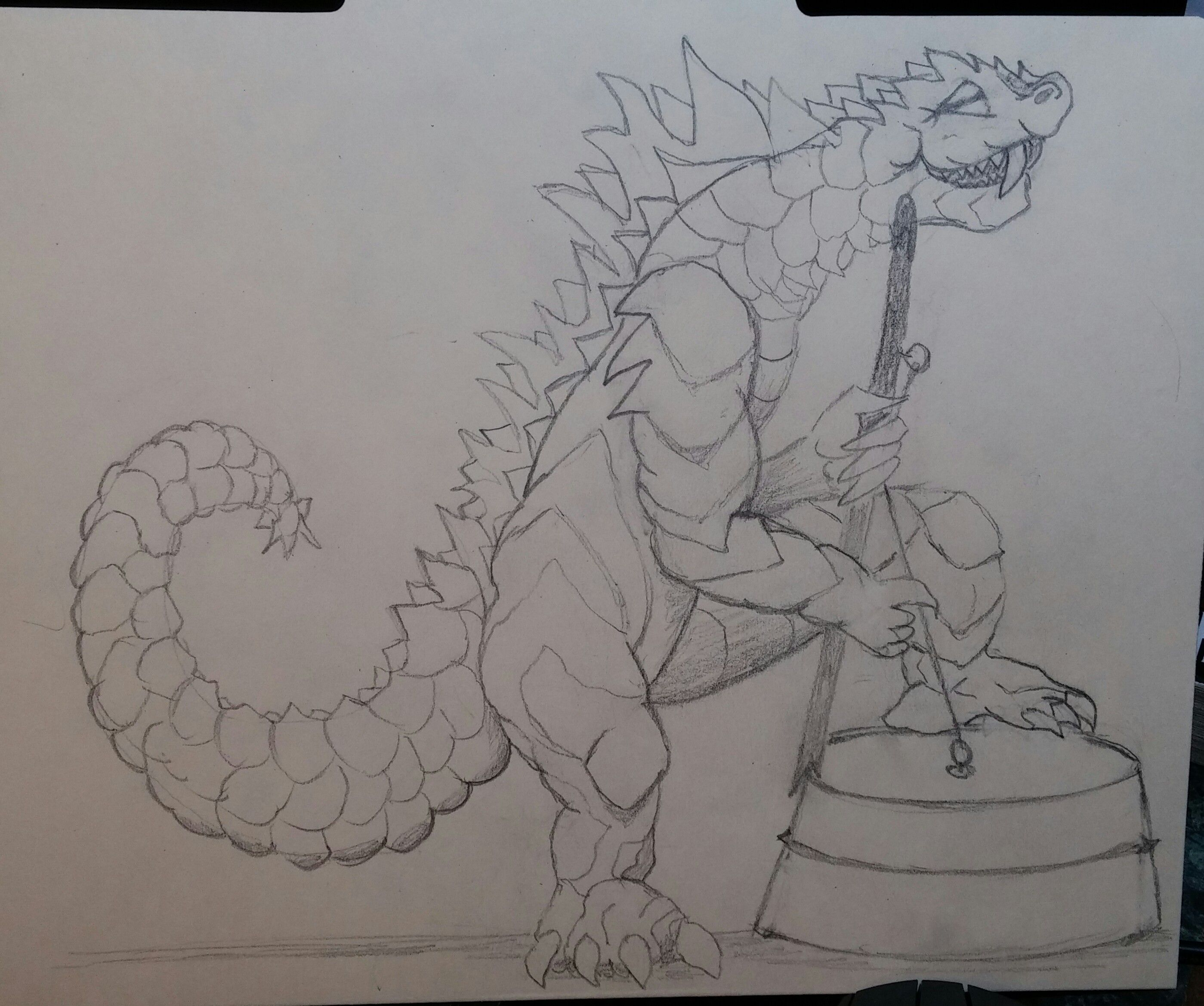 Godzilla on washtub pencil sketch by m v kirch michaels