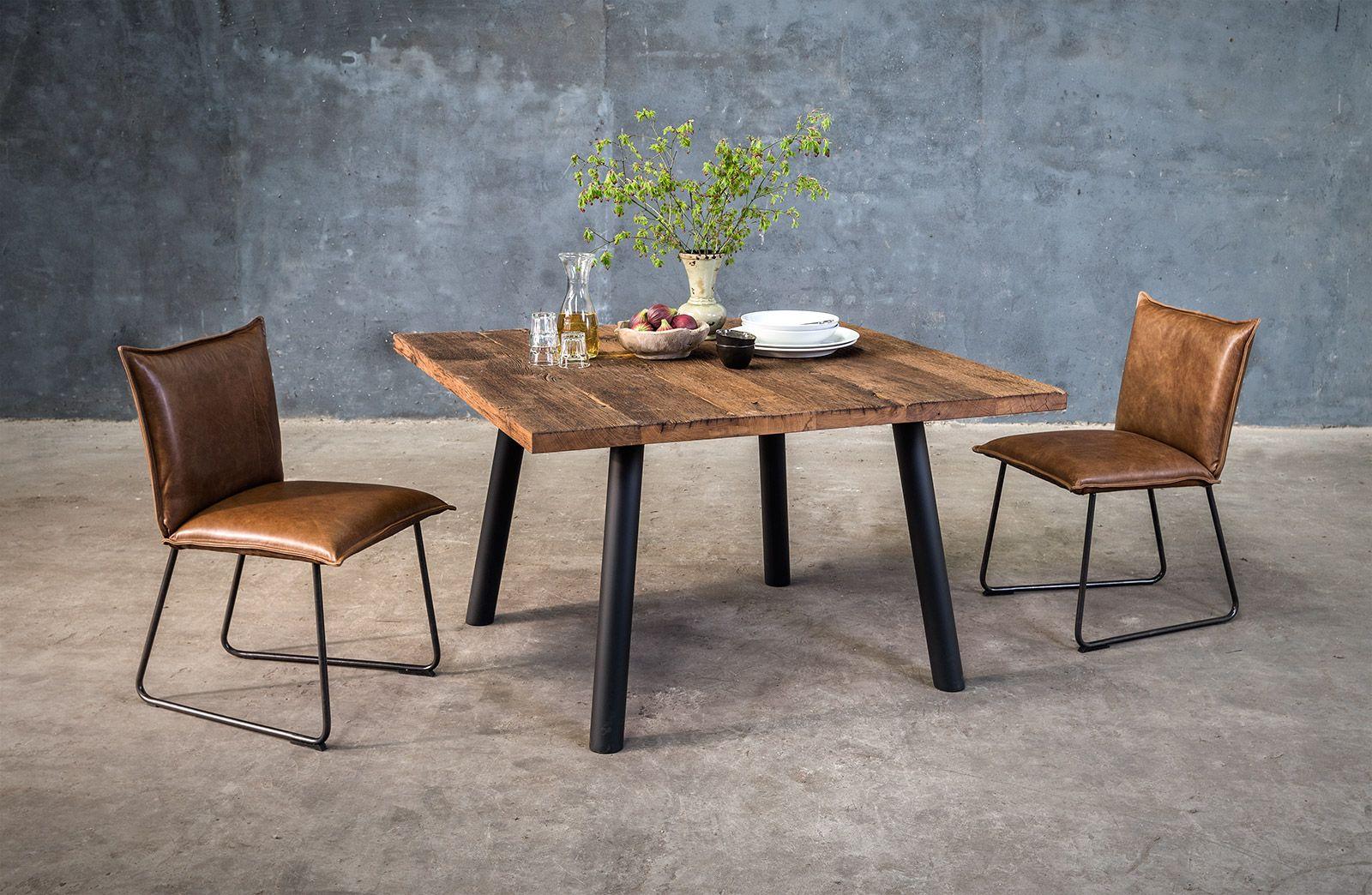 Massief houten vierkanten tafel op maat