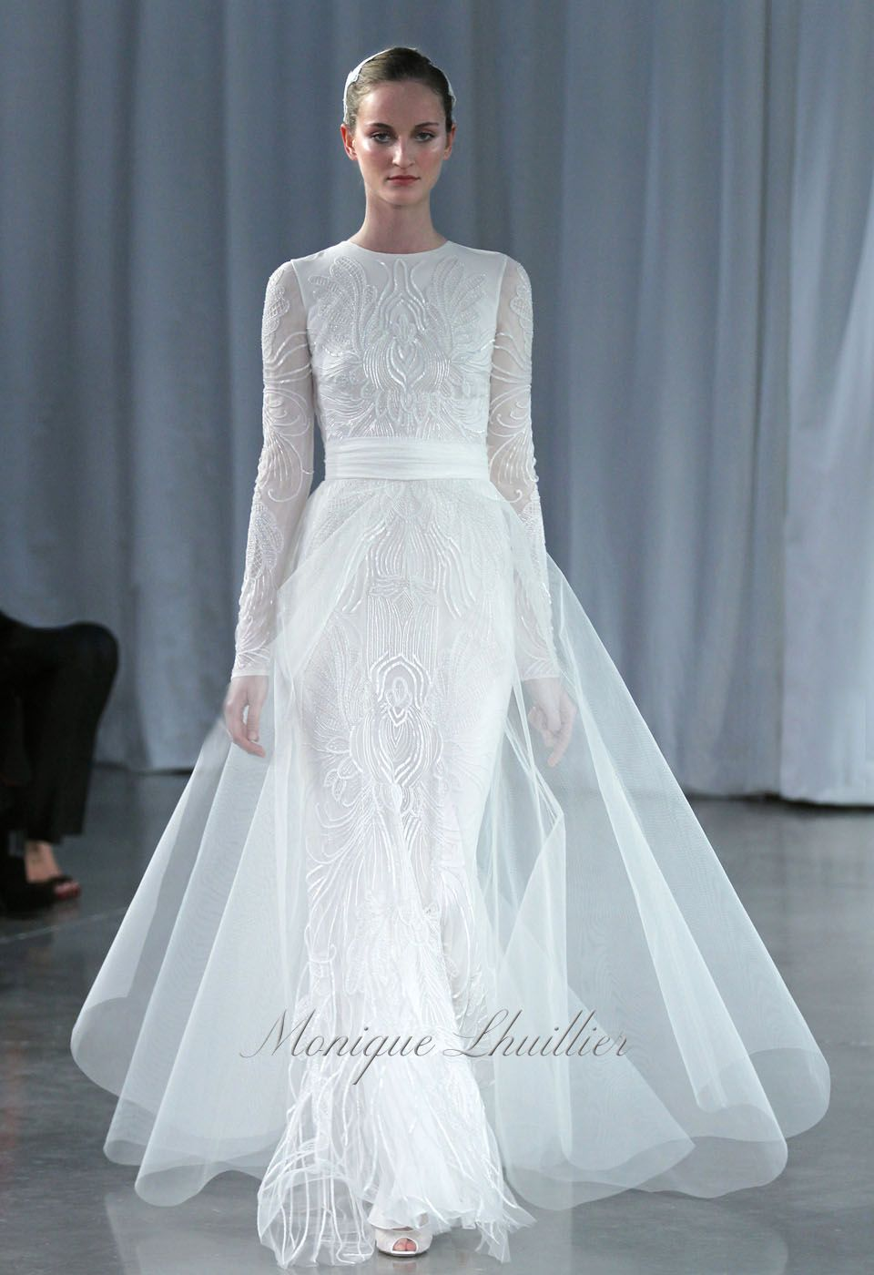 Papillon Monique Lhuiller Fall 2013 Bridal SILK WHITE EMBROIDERED ...