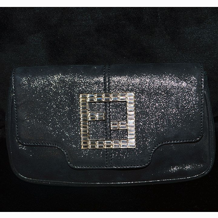 Fendi Clutch Dark Grey Metallic Fabric With Diamante Condition Very Good