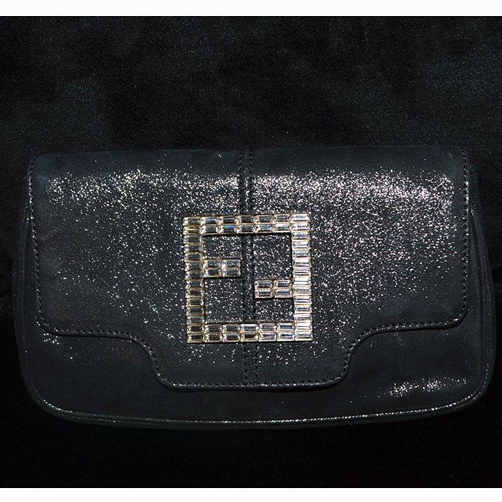 Fendi Clutch Dark Grey Metallic Fabric With Diamante Condition Very Good