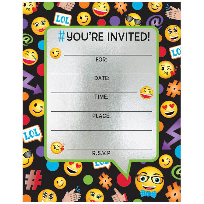 Emoji Foil Birthday Party Invitations (8 Count) - Party Invitations - best of birthday invitation by whatsapp