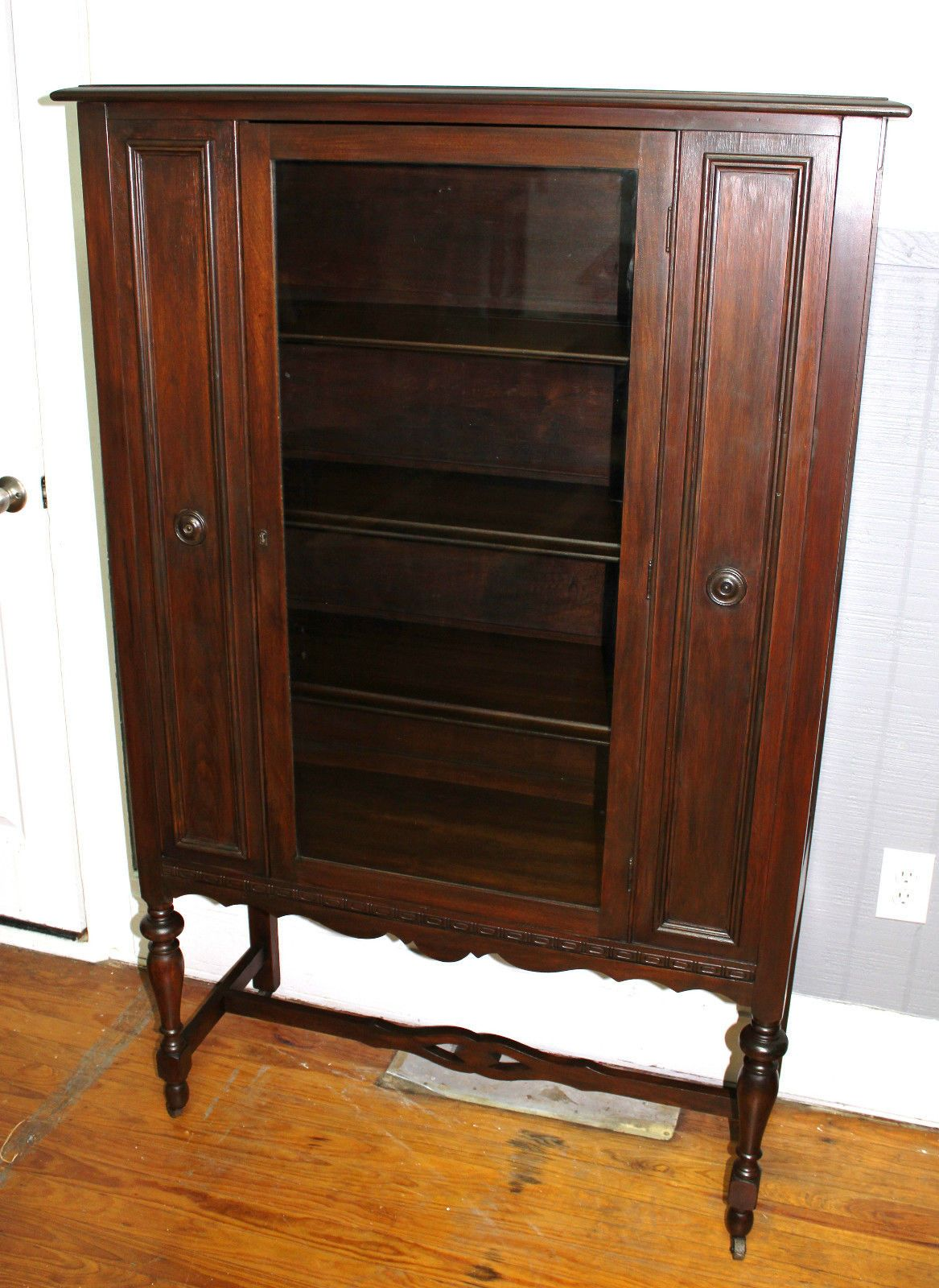 Beautiful Antique English Mahogany Glass Door Display Cabinet Ebay