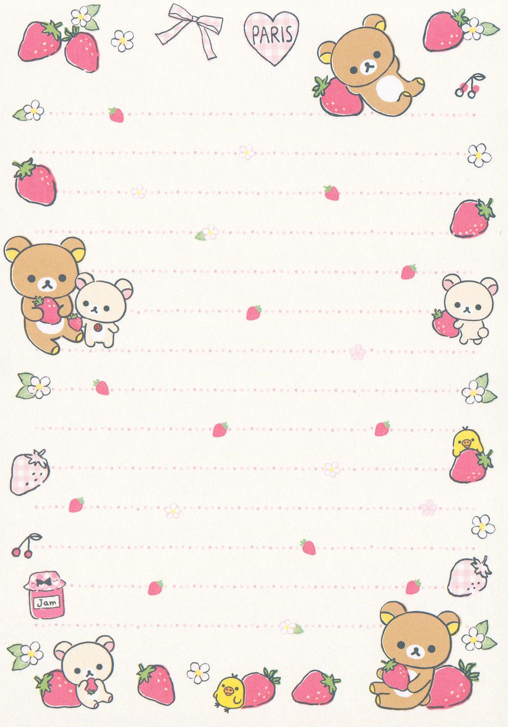 San X Rilakkuma La Fraise Memo Crazysugarbunny Flickr Printable Scrapbook Paper Kawaii Printables Stationery Paper