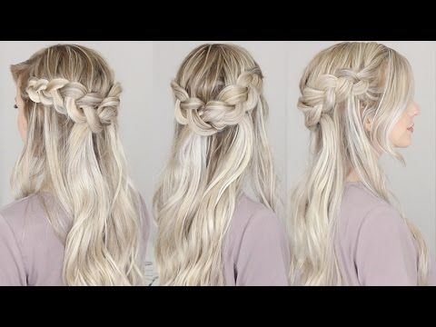 Half Up Dutch Crown Braid Hairstyle Simple Easy Youtube