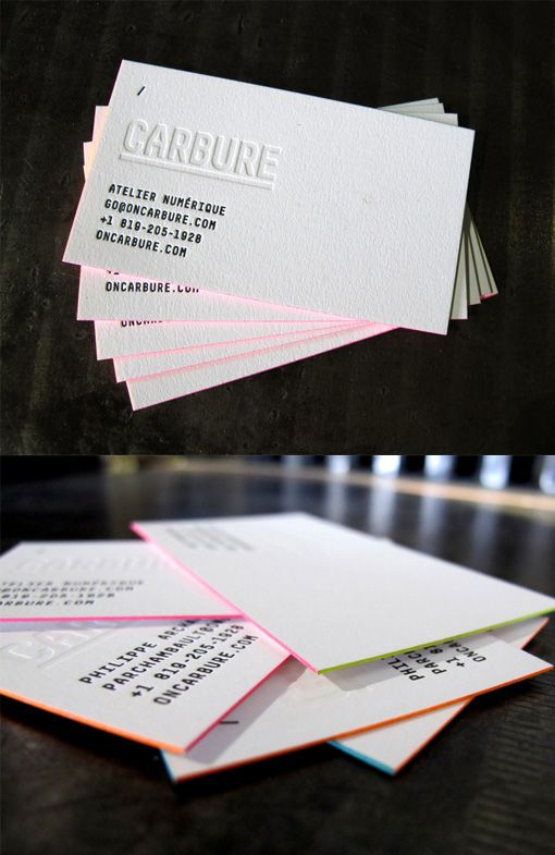 Minimalist Design And Bright Edge Painting Come Together On A Business Card For A Embossed Business Cards Colored Edge Business Cards Business Card Inspiration