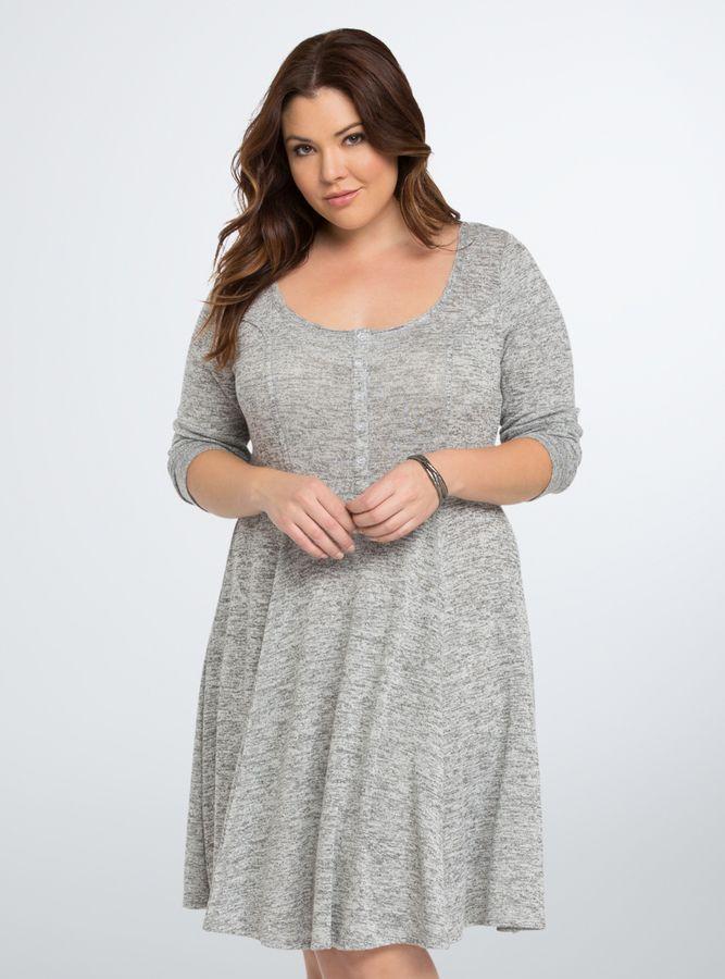 Cute! Plus Size Knit Henley Skater Dress | Plus Size Fashion ...