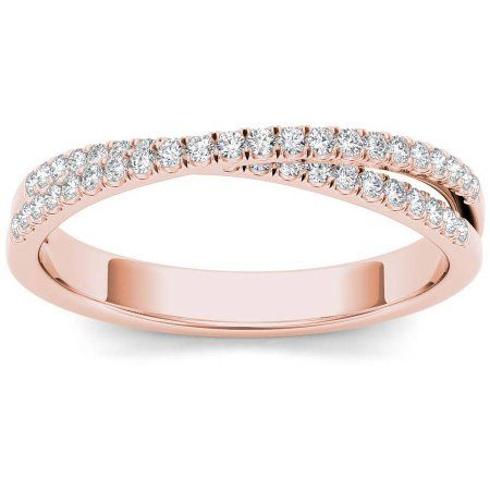 Imperial 1/4 Carat T.W. Diamond Cross Over 10kt Rose Gold Wedding Band - Walmart.com