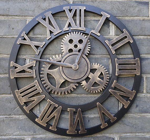Large Wall Clock Handmade Vintage Rustic 45cm Wooden Luxury Art Vintage Big Gear Rustic Wall Clocks Gear Wall Clock Oversized Wall Clock