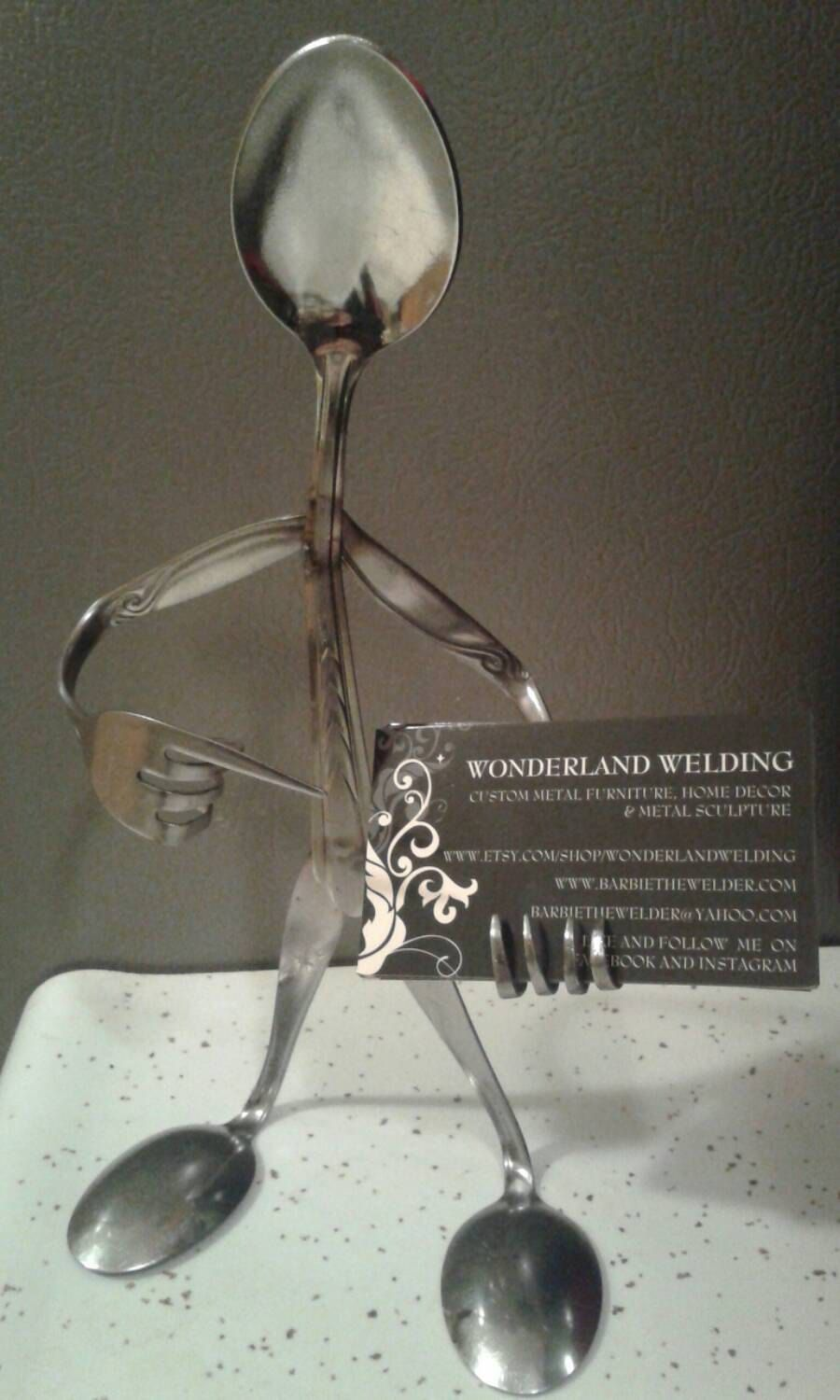 business card holder metal sculpture crafted with spoons forks and