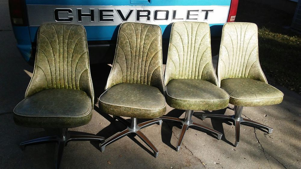 Wondrous Chromcraft Chairs Set Of 4 Vintage Green Floral Swivel Chair Cjindustries Chair Design For Home Cjindustriesco