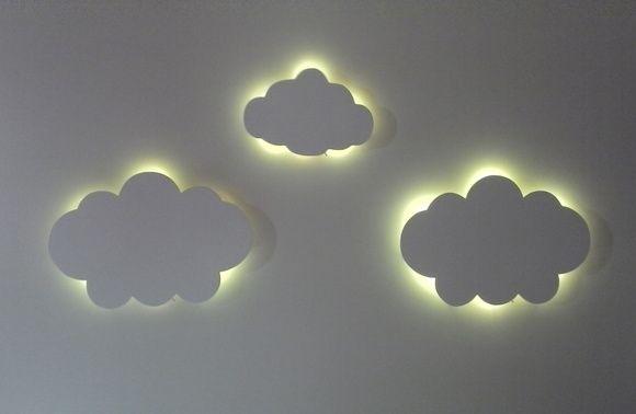 Nuvem Com Led Luminaria Quarto Bebe Kit 3 Pecas De Nuvem Com