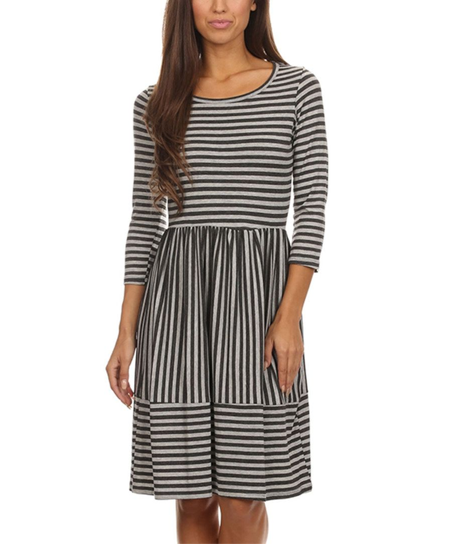 Look at this Pretty Young Thing Gray & Black Stripe Fit & Flare on #zulily today!