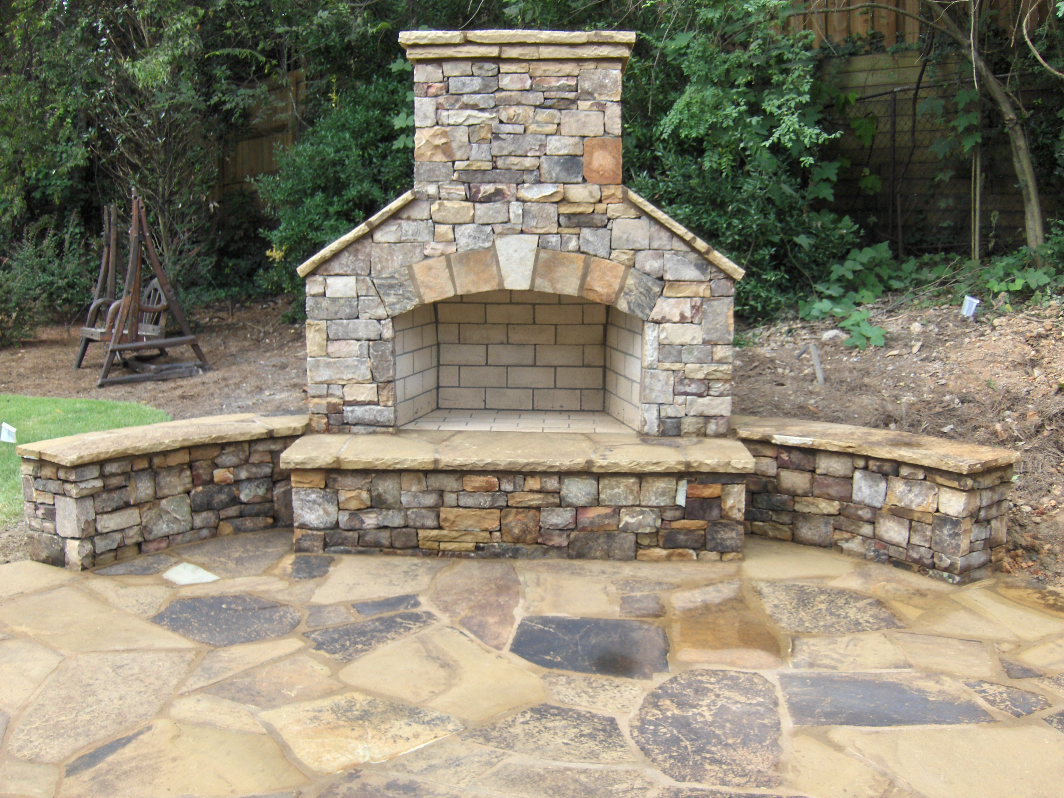 Atlanta Landscape Masonry Hardscape Project Gallery Outdoor Stone Fireplaces Backyard Fireplace Outdoor Fireplace Patio