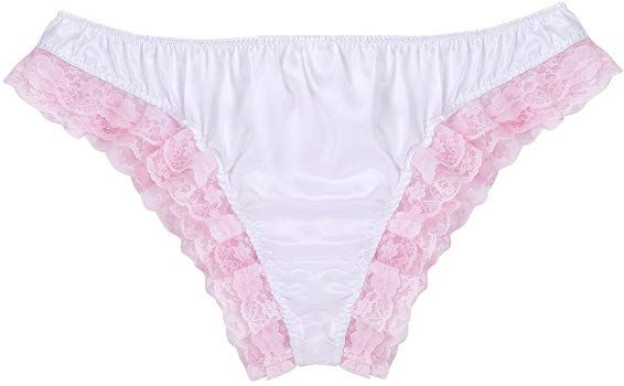 4f484610cb4b3 Agoky Mens Satin Ruffles Floral Lace Sissy Pouch Bikini Briefs Underwear  Crossdress Panties White Medium (Waist  30.0-46.0