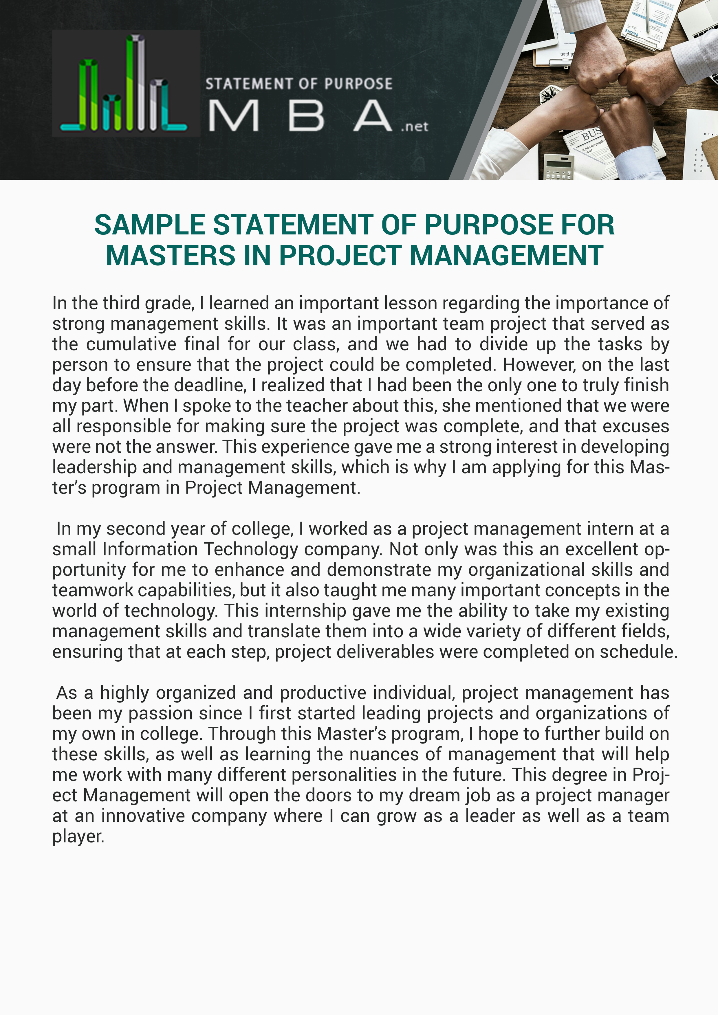 Sample Statement Of Purpose For Masters In Project Management Project Management Project Management Courses Management