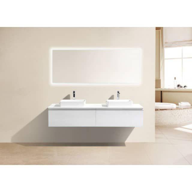 BERNSTEIN Badmöbel-Set DELIA 1800 in Weiß - LED-Lichtspiegel - spiegelschrank badezimmer günstig