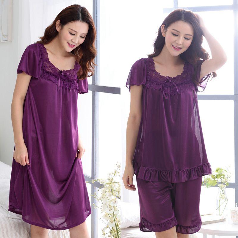Nuovo 2016 girocollo di seta degli indumenti da notte delle donne con maniche corte in pizzo sexy pigiama set di consegna a domicilio Gratuito