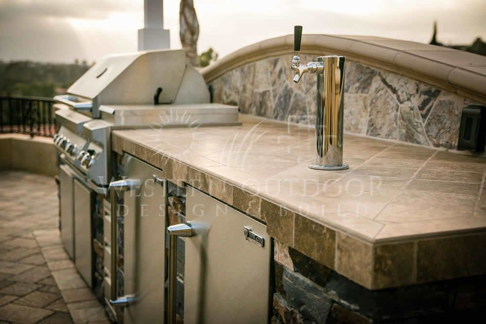 BBQ Stone Island With Tile Counter Top