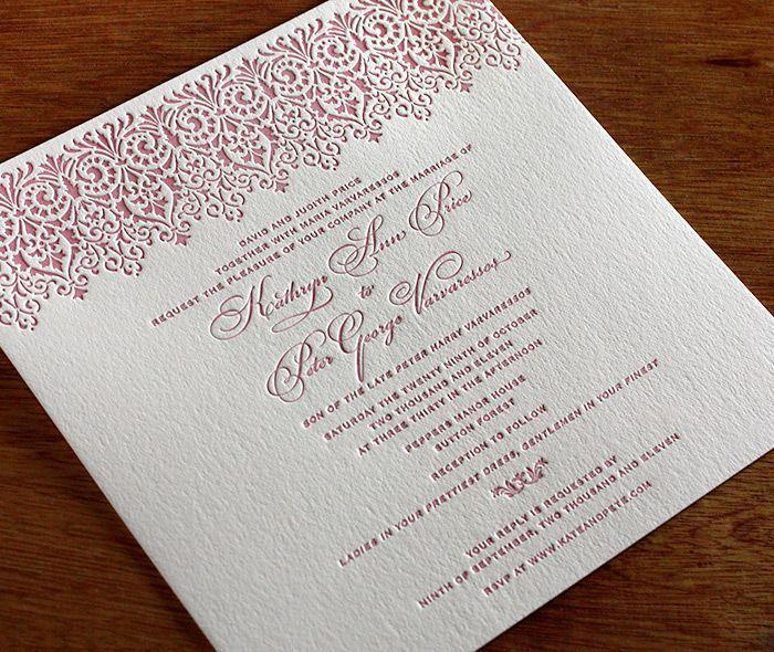Vintage lace wedding invitation design featuring pantone's fall 2015 color Cashmere Rose.   Invitations by Ajalon   invitationsbyajalon.com