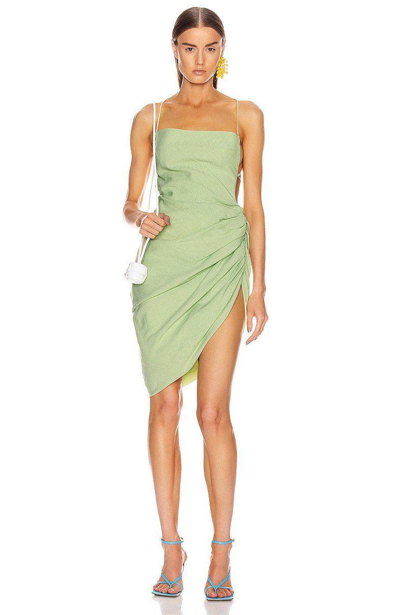 Mint Green Open Back Ruched Mini Dress, L / Mint Green