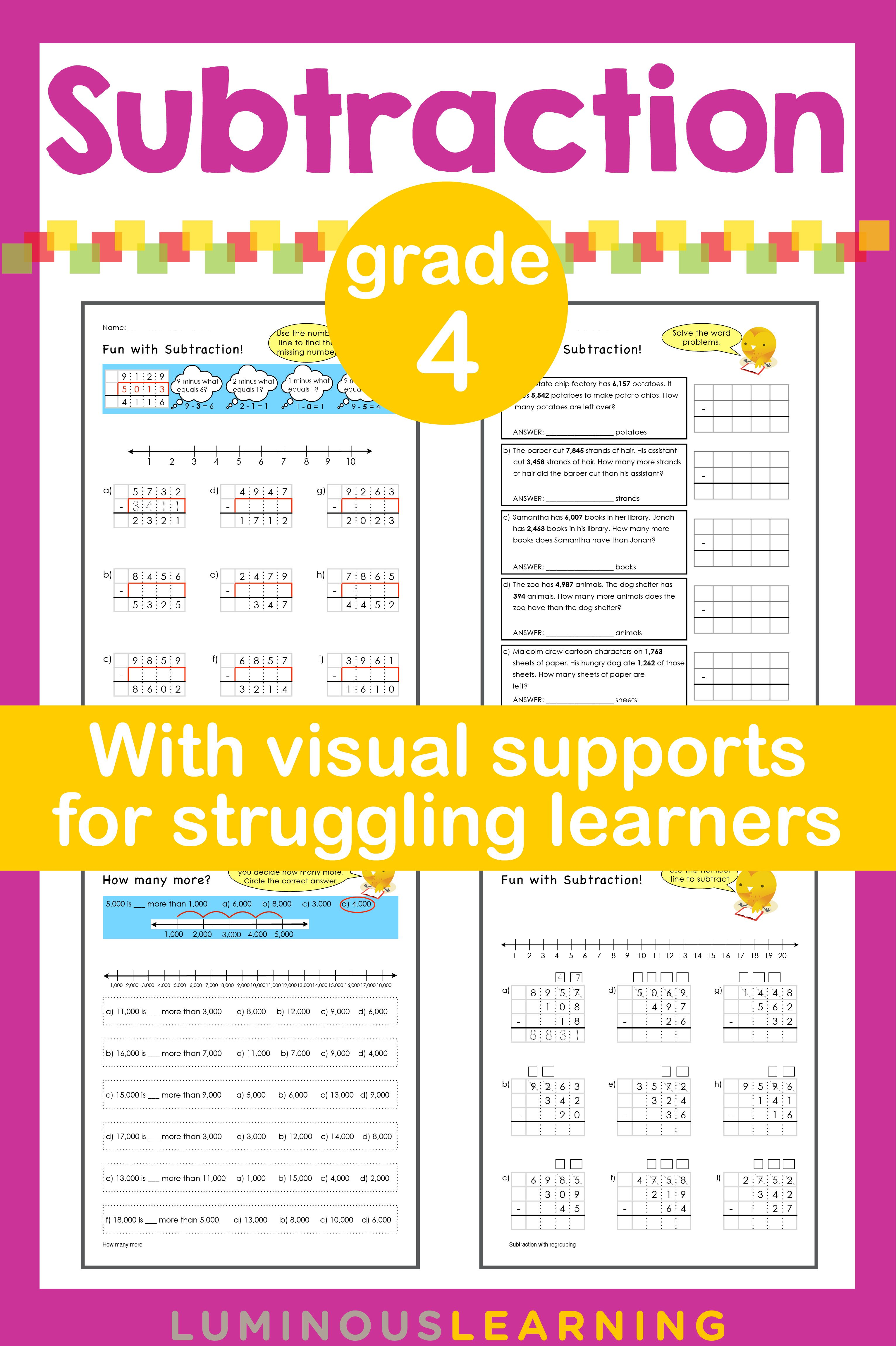 Luminous Learning Grade 4 Subtraction Workbook Is Designed