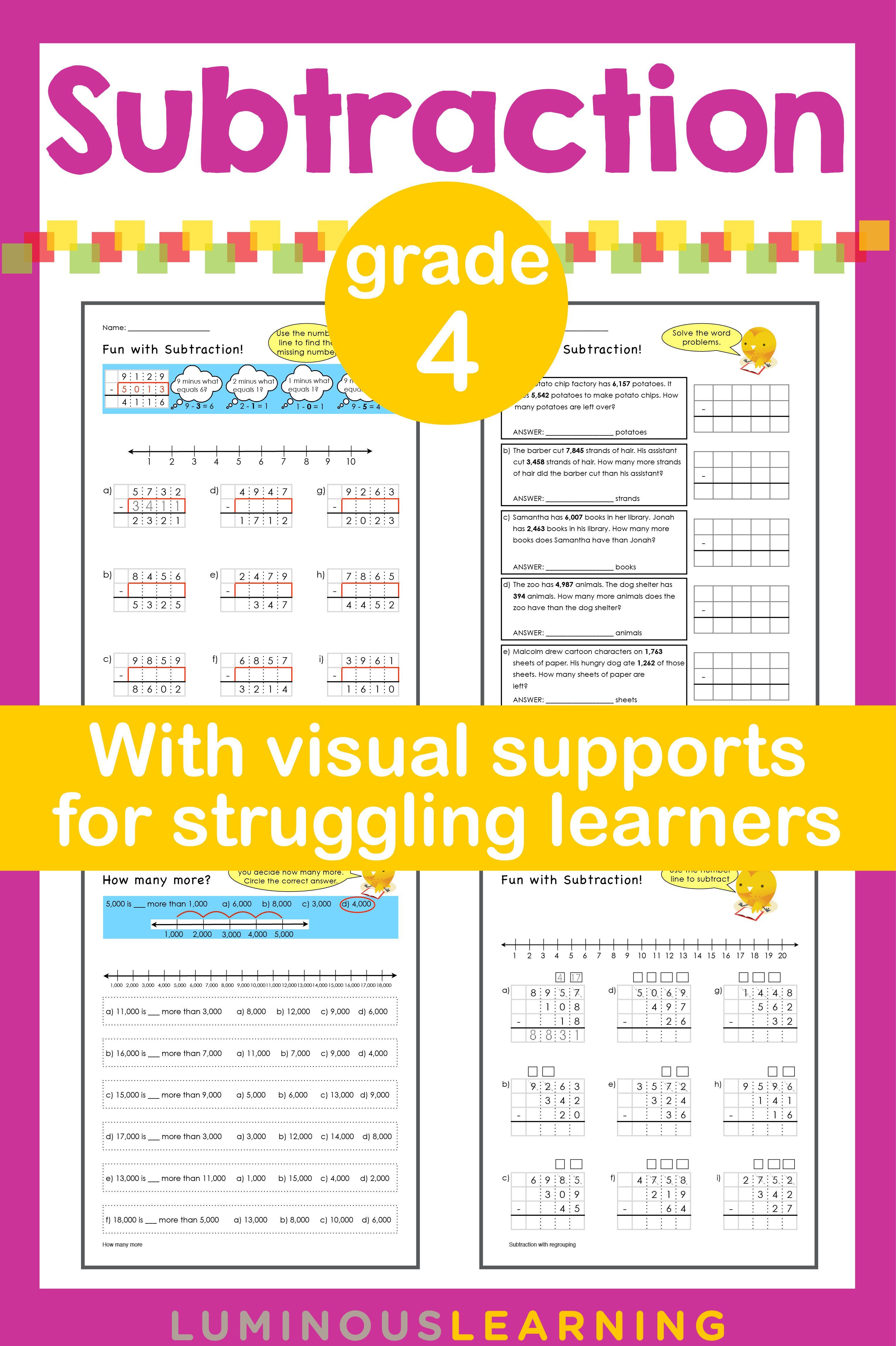 Luminous Learning Grade 4 Subtraction Workbook Is Designed
