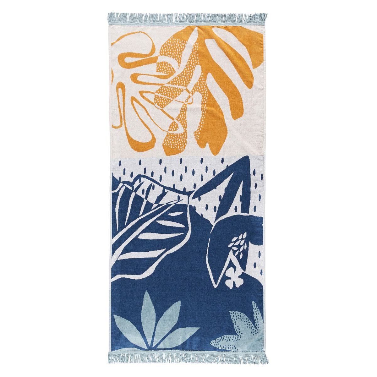 Maranhao beach towel in 100% cotton velour towelling, 400g/m². One side multi-coloured bouclé towelling, one side velour towelling in palm tree print.product details: •  100% cotton towelling, 400g/m² •  one side multi-coloured bouclé towelling, one side velour towelling in palm tree print •  7cm fringing •  washable at 60°c •  tumble dry •  made in portugalsize: •  90 x 180cmsee the full range of bath linen online.additional information: •  the oeko-tex® label guarantees that the items tested a