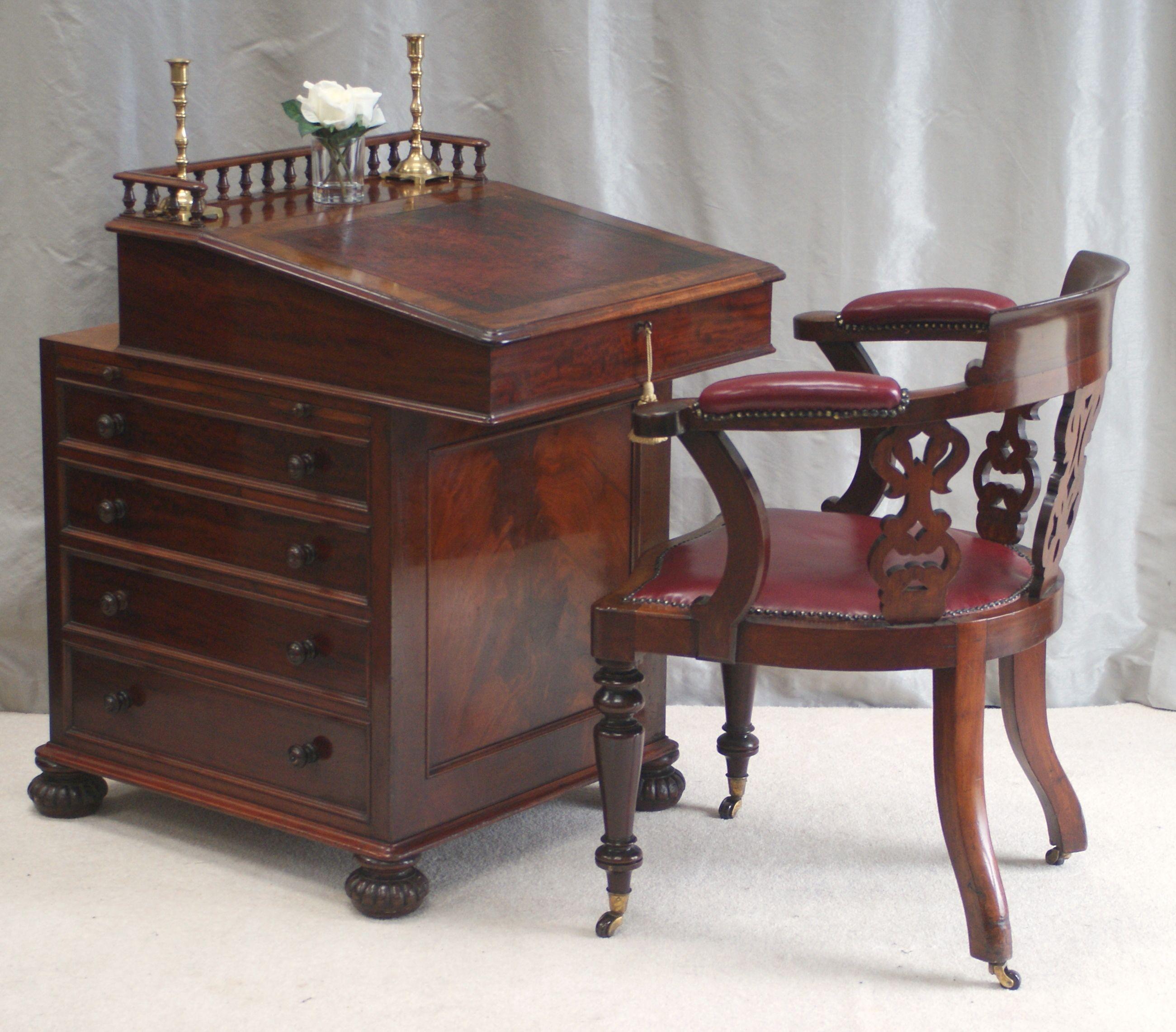 Antique Antique Davenport Desk James Winter Sons Top Slides