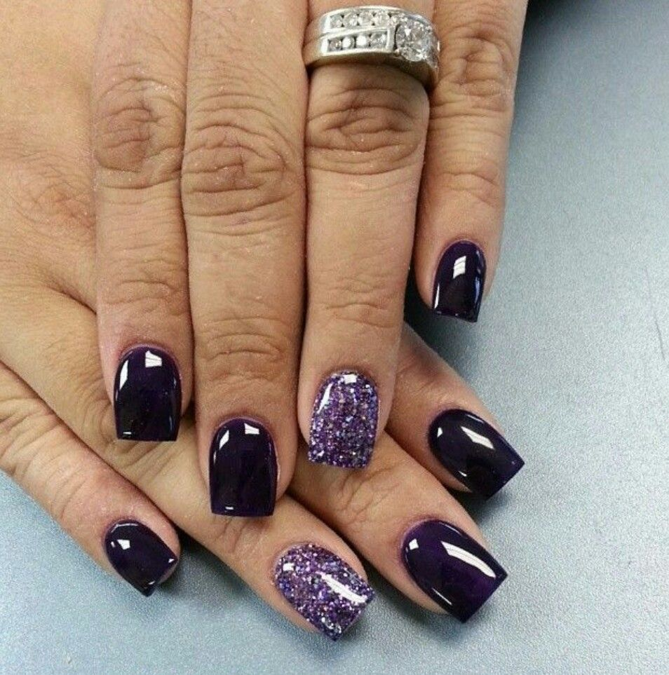Dark purple and glittery purple. www.beautyspace.com.sg | Nail Art ...