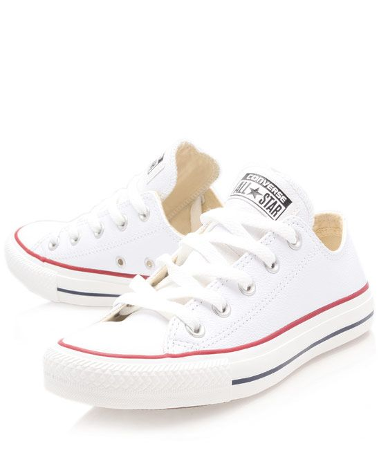 f7baa4c6a29a0d Converse White Chuck Taylor Leather Low Trainers Old school baby ...