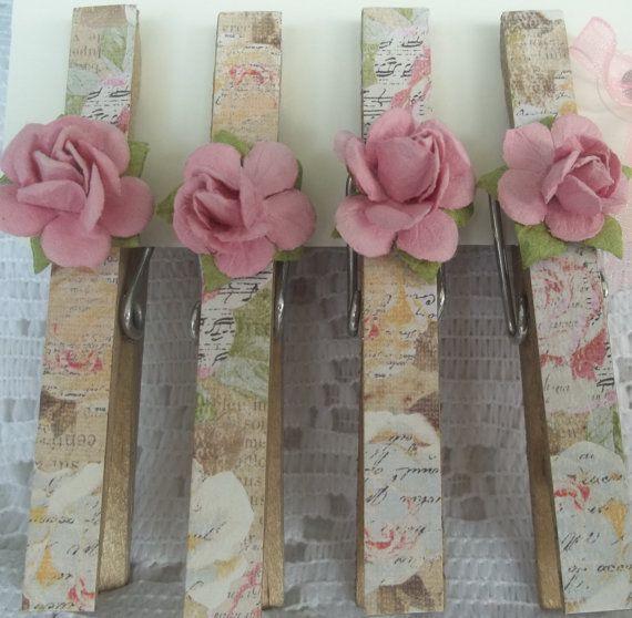 Romantic Decorative Clothespins (Set of 4)