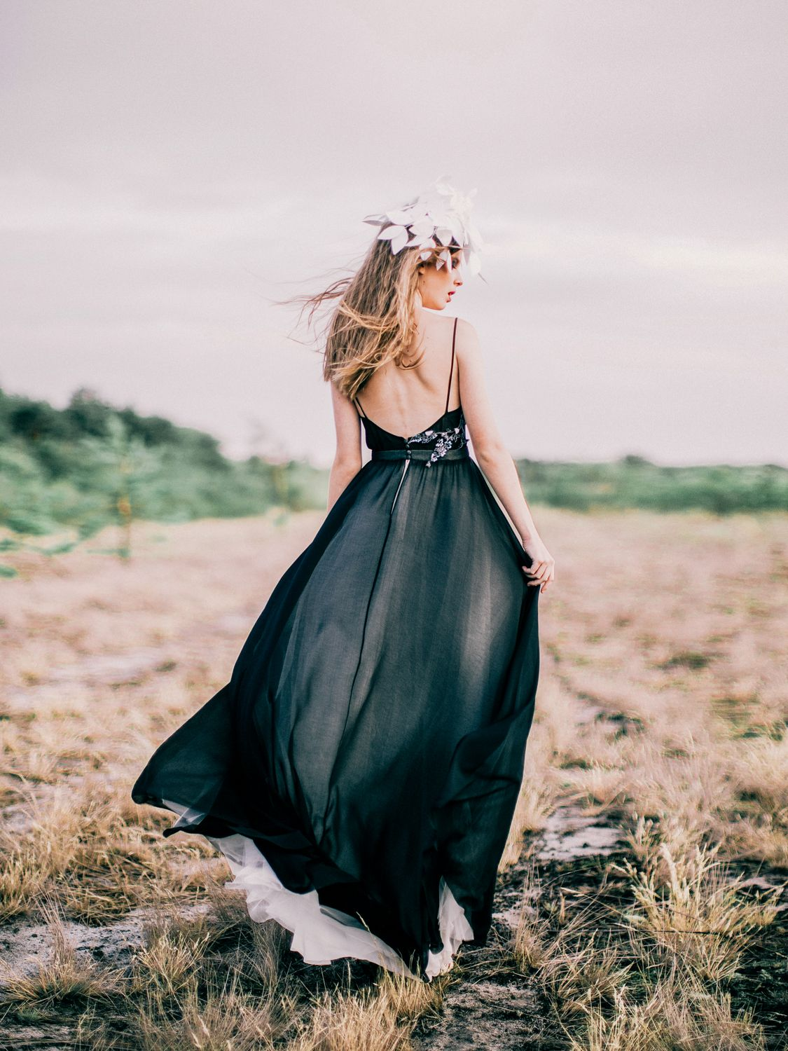 Black open back wedding dress with cotton appliques the dress by