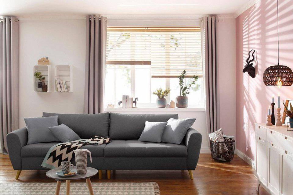 Home Affaire Big Sofa »Penelope«, Feine Steppung, Lose Kissen, Skandinavisches  Design