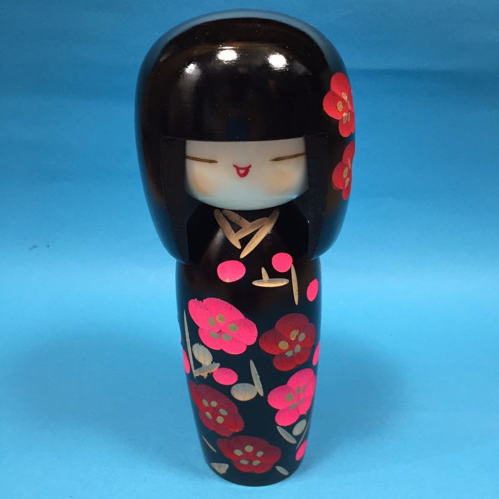 F S Japanese Handicraft Kokeshi Doll Cute Kawaii Black Color From
