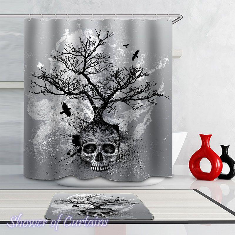 Half Skull Tree Shower Curtain - HXTC0227