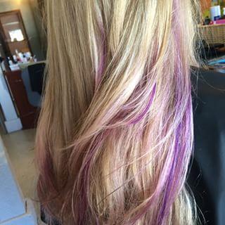 Blonde Hair With Purple Peekaboos Google Search Pink Blonde Hair Hair Styles Long Hair Styles