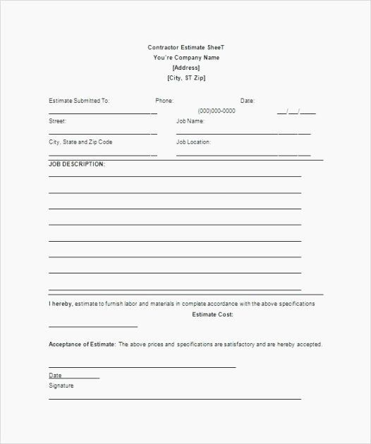 Free Printable Contractor Proposal Forms Fresh 40