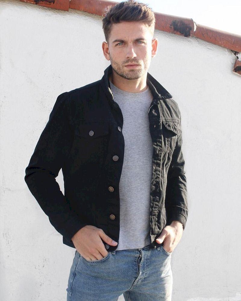 35 Simple Look Denim Jacket Idea For Men Outfit Black Denim Jacket Men Mens Casual Outfits Mens Outfits